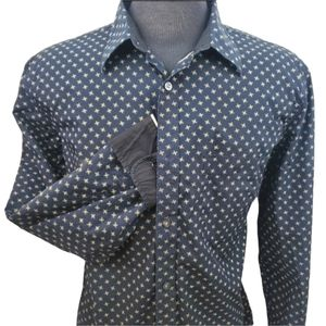 Club Monaco Black Gold Patterned Shirt Size XL